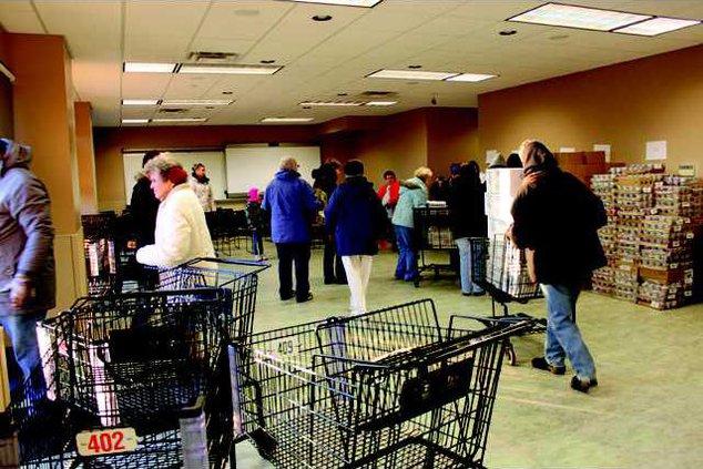 food pantry volunteers inside