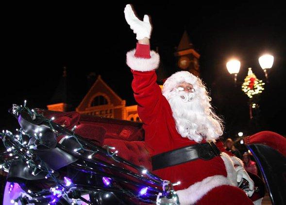 santa on square parade stock