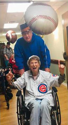 Jean Walsh and son Frank celebrating Cubs World Series victory