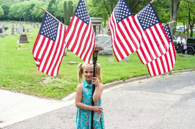 girl with flags